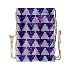 Triangle2 White Marble & Purple Marble Drawstring Bag (small) by trendistuff