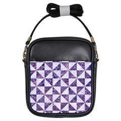 Triangle1 White Marble & Purple Marble Girls Sling Bags by trendistuff