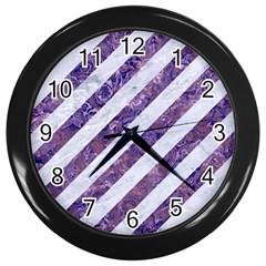 Stripes3 White Marble & Purple Marble (r) Wall Clocks (black) by trendistuff