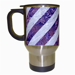 Stripes3 White Marble & Purple Marble (r) Travel Mugs (white) by trendistuff