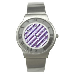 Stripes3 White Marble & Purple Marble (r) Stainless Steel Watch by trendistuff