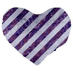 Stripes3 White Marble & Purple Marble (r) Large 19  Premium Heart Shape Cushions by trendistuff