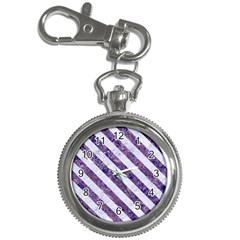 Stripes3 White Marble & Purple Marble Key Chain Watches by trendistuff