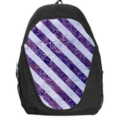 Stripes3 White Marble & Purple Marble Backpack Bag by trendistuff