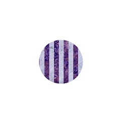 Stripes1 White Marble & Purple Marble 1  Mini Buttons