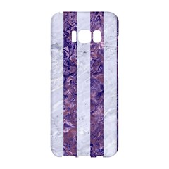 Stripes1 White Marble & Purple Marble Samsung Galaxy S8 Hardshell Case