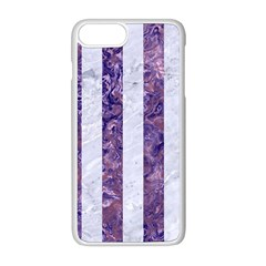 Stripes1 White Marble & Purple Marble Apple Iphone 8 Plus Seamless Case (white)