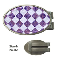 Square2 White Marble & Purple Marble Money Clips (oval)  by trendistuff