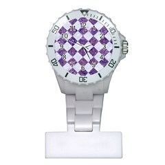 Square2 White Marble & Purple Marble Plastic Nurses Watch by trendistuff
