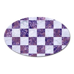 Square1 White Marble & Purple Marble Oval Magnet by trendistuff