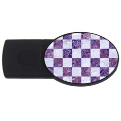 Square1 White Marble & Purple Marble Usb Flash Drive Oval (4 Gb) by trendistuff