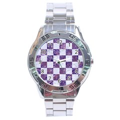 Square1 White Marble & Purple Marble Stainless Steel Analogue Watch by trendistuff