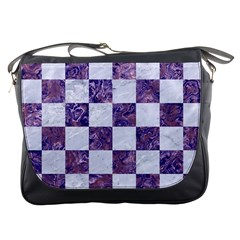 Square1 White Marble & Purple Marble Messenger Bags by trendistuff