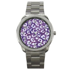 Skin5 White Marble & Purple Marble (r) Sport Metal Watch by trendistuff