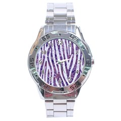 Skin4 White Marble & Purple Marble (r) Stainless Steel Analogue Watch by trendistuff