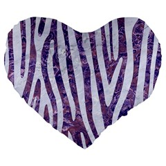 Skin4 White Marble & Purple Marble (r) Large 19  Premium Flano Heart Shape Cushions by trendistuff