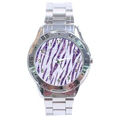 Skin3 White Marble & Purple Marble (r) Stainless Steel Analogue Watch by trendistuff