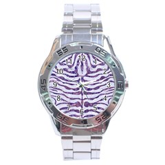 Skin2 White Marble & Purple Marble (r) Stainless Steel Analogue Watch by trendistuff