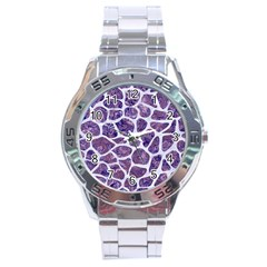 Skin1 White Marble & Purple Marble (r) Stainless Steel Analogue Watch by trendistuff