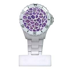 Skin1 White Marble & Purple Marble (r) Plastic Nurses Watch by trendistuff