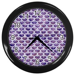 Scales3 White Marble & Purple Marble Wall Clocks (black)