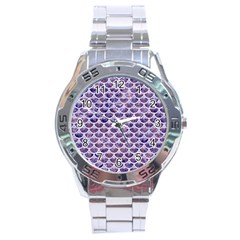 Scales3 White Marble & Purple Marble Stainless Steel Analogue Watch by trendistuff