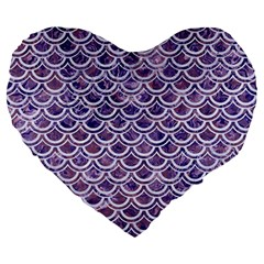 Scales2 White Marble & Purple Marble Large 19  Premium Flano Heart Shape Cushions by trendistuff