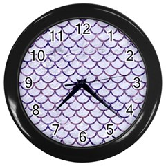 Scales1 White Marble & Purple Marble (r) Wall Clocks (black)