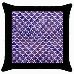Scales1 White Marble & Purple Marble Throw Pillow Case (black) by trendistuff