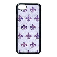 Royal1 White Marble & Purple Marble Apple Iphone 8 Seamless Case (black)