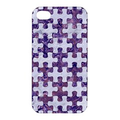 Puzzle1 White Marble & Purple Marble Apple Iphone 4/4s Hardshell Case by trendistuff