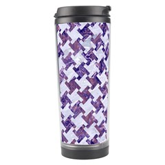 Houndstooth2 White Marble & Purple Marble Travel Tumbler by trendistuff