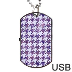Houndstooth1 White Marble & Purple Marble Dog Tag Usb Flash (two Sides) by trendistuff