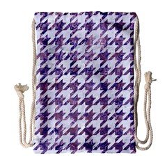 Houndstooth1 White Marble & Purple Marble Drawstring Bag (large) by trendistuff