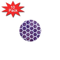 Hexagon2 White Marble & Purple Marble 1  Mini Magnet (10 Pack)  by trendistuff