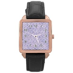 Hexagon1 White Marble & Purple Marble (r) Rose Gold Leather Watch  by trendistuff