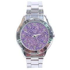 Hexagon1 White Marble & Purple Marble Stainless Steel Analogue Watch by trendistuff