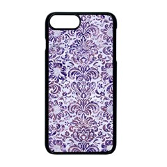 Damask2 White Marble & Purple Marble (r) Apple Iphone 8 Plus Seamless Case (black)