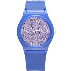 Damask2 White Marble & Purple Marble Round Plastic Sport Watch (s) by trendistuff