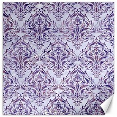 Damask1 White Marble & Purple Marble (r) Canvas 12  X 12   by trendistuff
