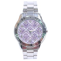 Damask1 White Marble & Purple Marble (r) Stainless Steel Analogue Watch