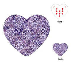Damask1 White Marble & Purple Marble Playing Cards (heart)  by trendistuff
