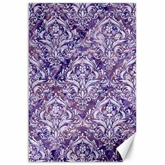 Damask1 White Marble & Purple Marble Canvas 20  X 30   by trendistuff