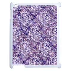Damask1 White Marble & Purple Marble Apple Ipad 2 Case (white) by trendistuff