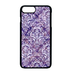 Damask1 White Marble & Purple Marble Apple Iphone 8 Plus Seamless Case (black)