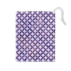 Circles3 White Marble & Purple Marble (r) Drawstring Pouches (large)