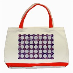 Circles1 White Marble & Purple Marble Classic Tote Bag (red) by trendistuff