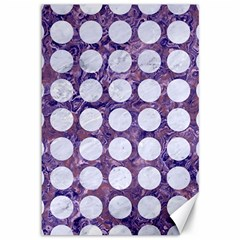 Circles1 White Marble & Purple Marble Canvas 12  X 18   by trendistuff