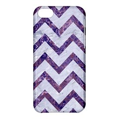 Chevron9 White Marble & Purple Marble (r) Apple Iphone 5c Hardshell Case by trendistuff