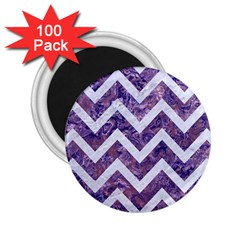 Chevron9 White Marble & Purple Marble 2 25  Magnets (100 Pack)  by trendistuff